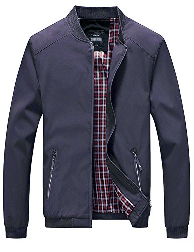 Lentta Men's Casual Slim Lightweight Softshell Zipper Windbreakers Bomber Jacket (Medium, Dark Blue)