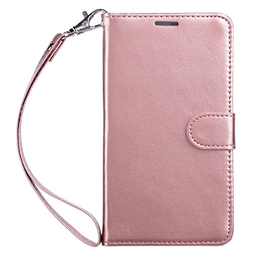 Galaxy Note 3 Case, Note 3 Case, ULAK Premium PU Leather Wallet Case Stand Cover for Samsung Galaxy Note 3 N9000 w/ Media Stand Feature,Credit Card ID Holders and Strap-Luxury Rose Gold (Purse Case Note 3)