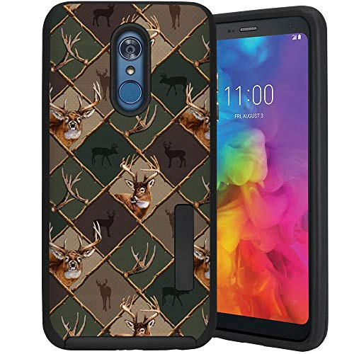 (CasesOnDeck Case Compatible with [LG Stylo 4 / LG Stylo 4 Plus] [Tactical Grip] Dual Layer Hybrid Case Shock Enhanced Grip Rubberized Exterior (Deer Emblem Pattern))