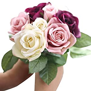 ZTTONE DIY 9 Heads Artificial Silk Fake Flowers Leaf Rose Wedding Floral Decor Bouquet (Beige) 22