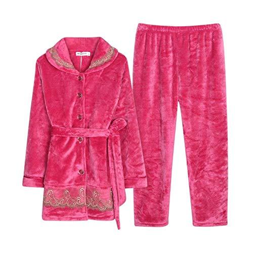 Sh Red De Cálido Tallas Pijama Ocio Grandes Especial Piezas Dormir Pijamas Para Dos T Rose Espesar Larga Estilo Coral Noche Mujer Ropa 1q6wZFd