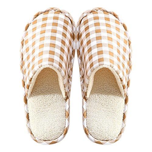 Chaussures Confortable BOZEVON Hommes Marron Pantoufles Peluche Femmes Coton Chaud Hiver Chaussons Maison amp; qP6wvqAC