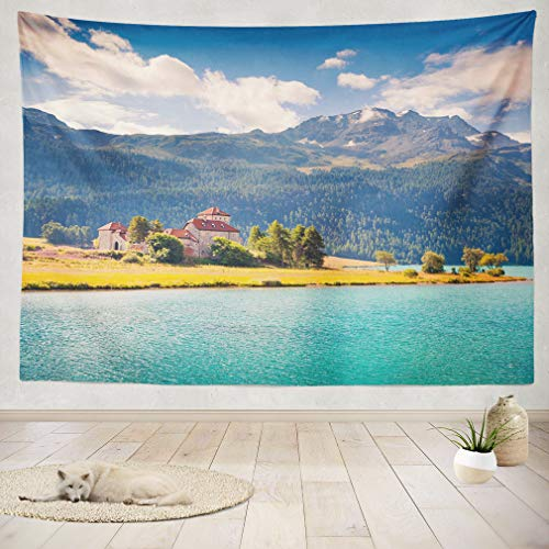 ASOCO Tapestry Wall Handing Sunny Morning Lake Scene in Swiss Alps Province Lombardy Region Italy Europe Artistic Style Wall Tapestry for Bedroom Living Room Tablecloth Dorm 60X60 Inches