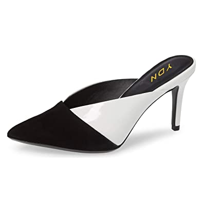 e9e673b3e0b YDN Women Pointed Toe Mid Heel Clogs Mules Slip on Sandals Slide Dress Shoes  Black-