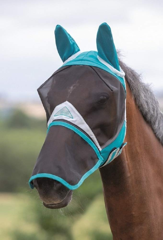 Shires Full Face Fly Mask, Det Nose (Full, Teal) by Shires