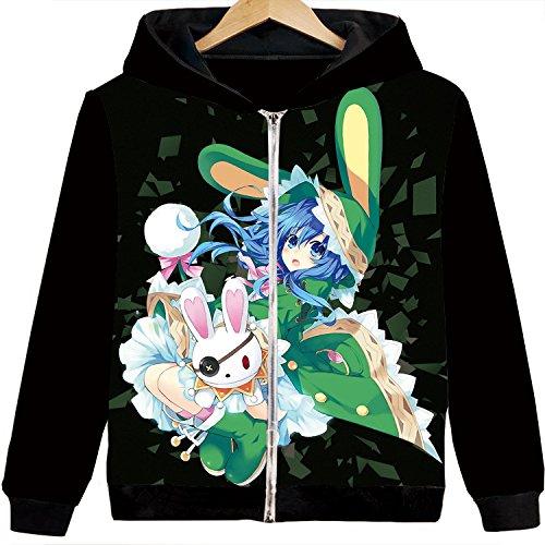 Kurumi Cosplay Costume - Rain's Pan Anime Date A Live Kurumi Cosplay Costume Loose Hoodies Jacket Sweatshirt Coat Unisex Teens (US M=Asia XL, 04)