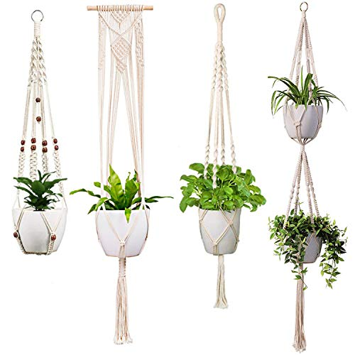 (LiyuanQ Macrame Plant Hangers Indoor Outdoor Wall Hanging Planter Handmade Plant Holder Hanging Planter Basket Cotton Rope Flower Pot Holder Modern Boho Home Decor (4 Pack, in 4 Different Designs))
