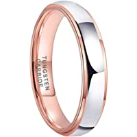 iTungsten 4mm 6mm 8mm Rose Gold Tungsten Carbide Rings for Men Women Wedding Bands Two Tone Domed Stepped Edges Brushed…