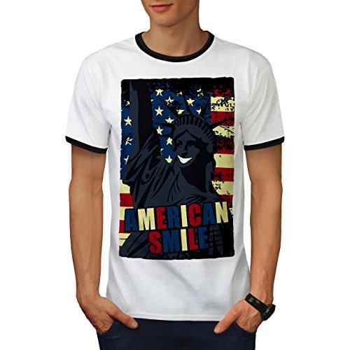 wellcoda American Freedom Flag Mens Ringer T-Shirt, Happy Graphic Print TeeWhite/Black L