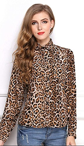 Casual Chiffon Blouse,Petite Long Sleeve Animal Print Button Front Tops Henley V Neck Shirt Leopard X-Large