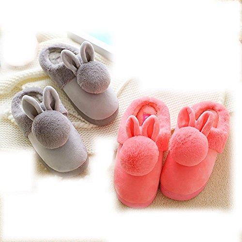 paquete cálida casero punta Zapatillas felpa señora gruesa de caricatura de invierno pantuflas dormitorio antideslizante otoño lindas Zapatillas algodón la con Medio de e wpt0qYPt
