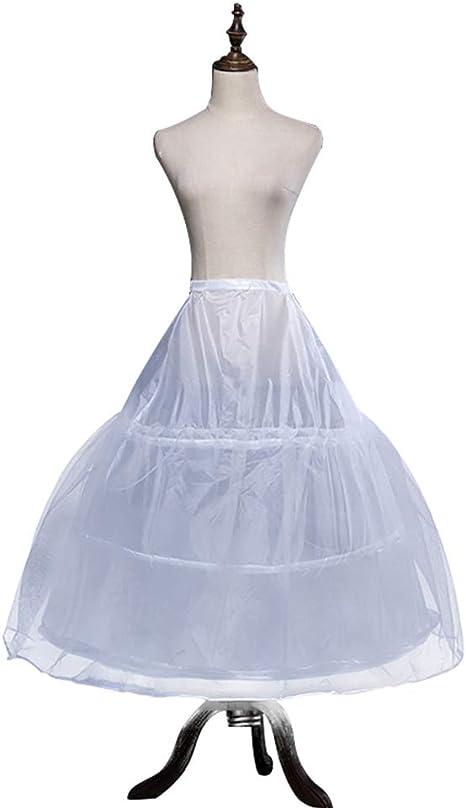 ACSUSS Kids Girls Wedding Flower Girl Crinoline Petticoat with 3 Hoops Full Length Underskirt Slips Dress