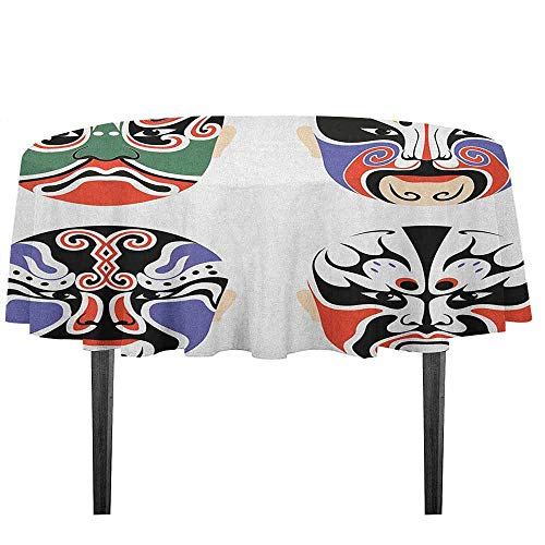 kangkaishi Kabuki Mask Detachable Washable Tablecloth Traditional Chinese Cultural Opera Mask Set Collection Asian Tribal Art Theme Great for Parties Festivals etc. D51.18 Inch Multicolor