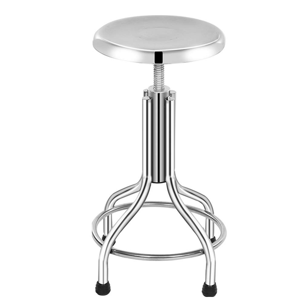 Bar Stool Stainless Steel Screw Lifting Bar Chair Laboratory Factory Workshop Medical Round Stool GAOFENG (Color : Four feet Mirror, Size : 3048-58cm)