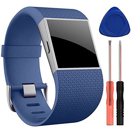For Fitbit Surge Bands, Silicone Replacement Strap Band Wristband for Fitbit Surge Watch Fitness Tracker WatchBand Accessories, Small and Large (Navy, Large( 6.3