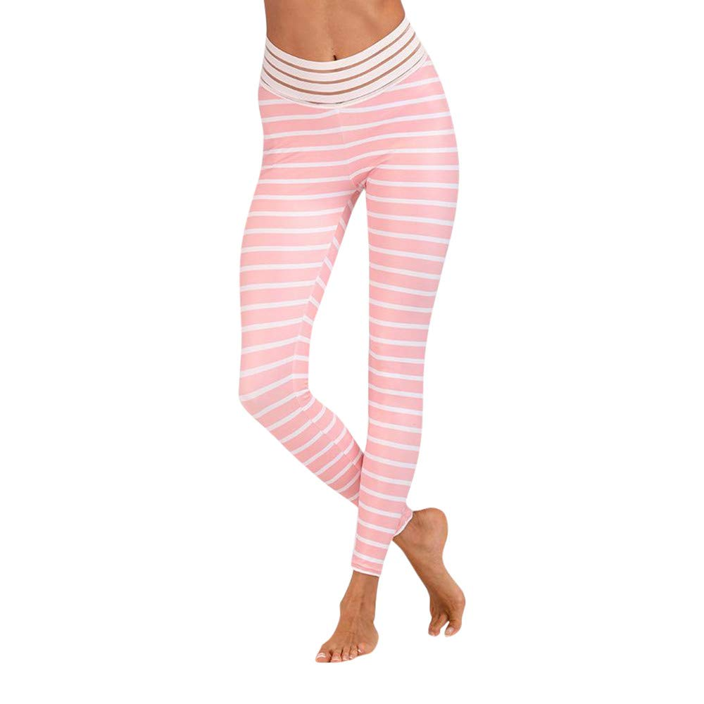 Lmtime Women's Skinny Stripe Workout Leggings Fitness Sports Gym Running Yoga Athletic Pants (L, Pink) by Lmtime (Image #1)