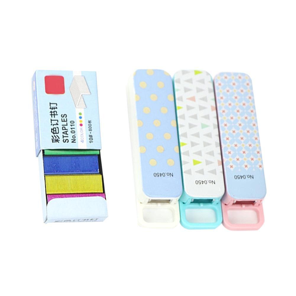 iShine Mini Stapler Kit No. 10 Desktop Tiny Stapler with 800 Piece Multicolor Staples, Random Color