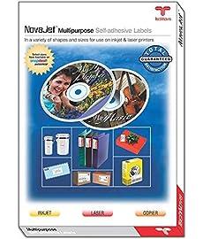 NOVAJET 1 Label  Per A 4 Size Sheet  Multi Purpose Self Adhesive Labels  100 Sheets