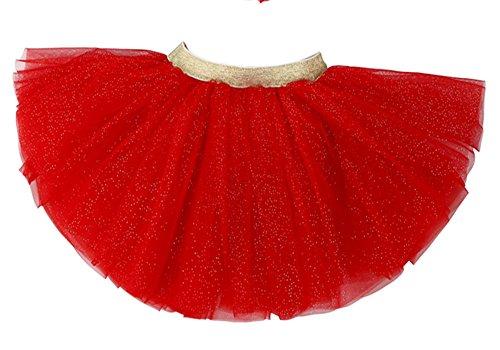 WGOODTECK Newborn Infant Baby Girls Glitter Soft Tulle Tutu Skirt(2-6Y,Red)