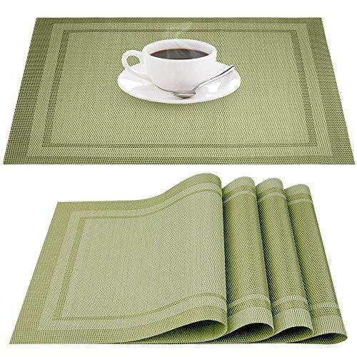 IHUIXINHE Placemats, Heat-resistant Non-slip Stain-resistant Washable PVC Place Mats, IHUIXINHE Woven Vinyl Double Border Table Mat, Set of 4 (Green)