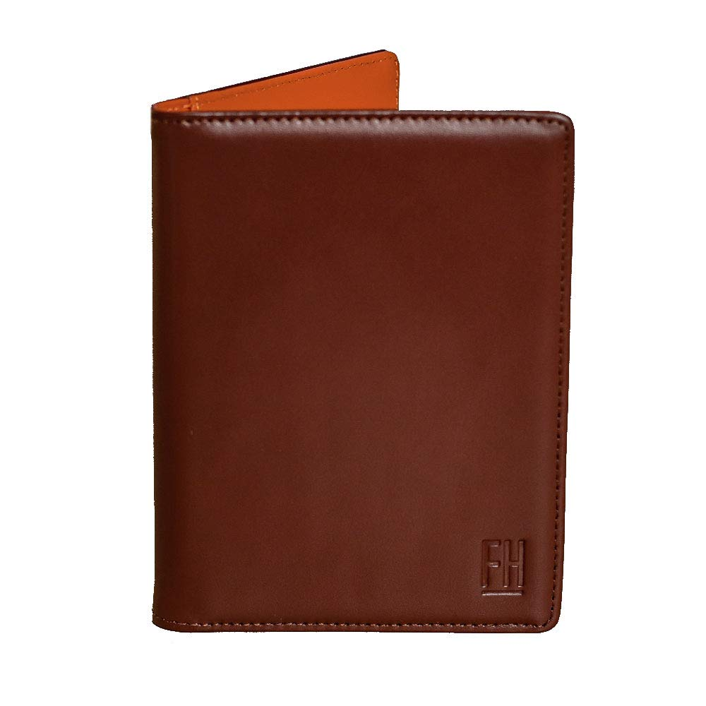 F&H Signature Passport Wallet in Top Grain Leather (Smooth Cognac/Rust) by Forrest & Harold