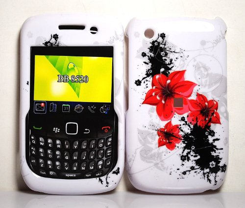 Red Lilly Flowers Snap on Hard Skin Faceplate Cover Case for Blackberry Curve 8520 8530 - 8530 Curve Snap