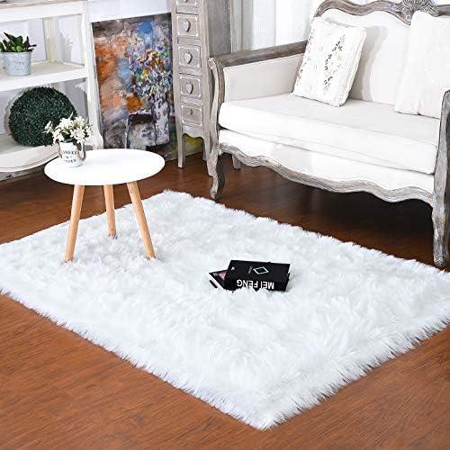 junovo Luxury Fluffy Area Rugs Furry Rug for Bedroom Faux Fur Sheepskin Nursery Rugs Fur Carpet for Kids Room Living Room Home Decor Floor Mat, 5ft x 8ft White