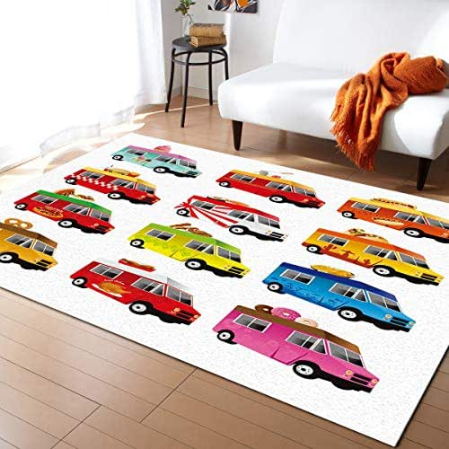 Fantasy Staring Non-Slip Area Rugs Room Mat- Food Car Home Decor Floor Carpet for High Traffic Areas Modern Rug Kitchen Mats Living Room Pads, 5'x7'
