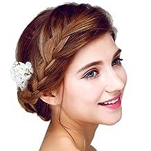 YAZILIND Elegant Headdress Bridal Hair Pins Flowers Wedding Hair Accessories Party for Women and Girls