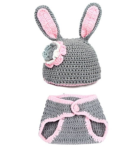 Lanue Unisex Newborn Baby Rabbit Knit Corchet Clothes Outfits Costume Photo Prop -