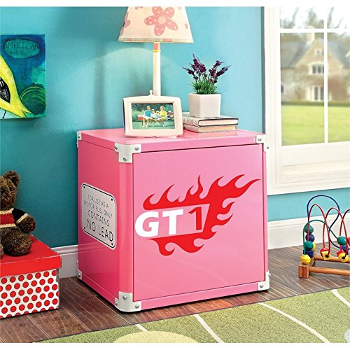 Furniture of America Ramirez Metal Racecar Nightstand in Pink by Furniture of America