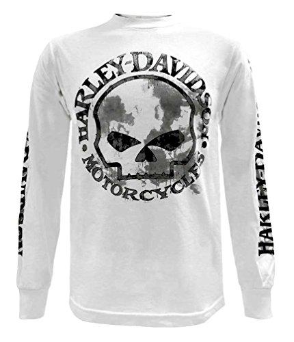(Harley-Davidson Men's Shirt, Willie G Skull Long Sleeve Tee, White 30296646 (L))