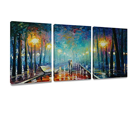 (ArtKisser Modern Landscape Painting On Canvas Night Rain Lover Wall Art Decorations Prints Artwork Stretched and Framed for Living Room Ready to Hang 12x16 30x40 3piece )