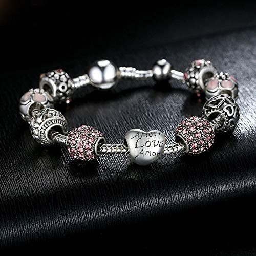 Multi-Color,one Size ruilinyang Antique 925 Silver Charm Bangle /& Bracelet with Love and Flower Crystal Ball for Women Wedding