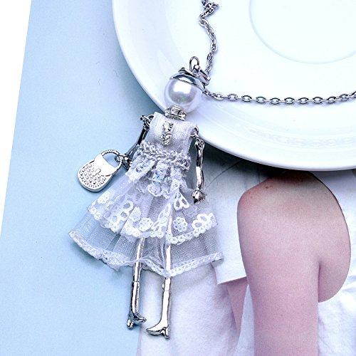 Lureme Main Petite Fille Poupée Jolie Robe Avec Collier De Sac À Main Keytag (nl005748) Blanc
