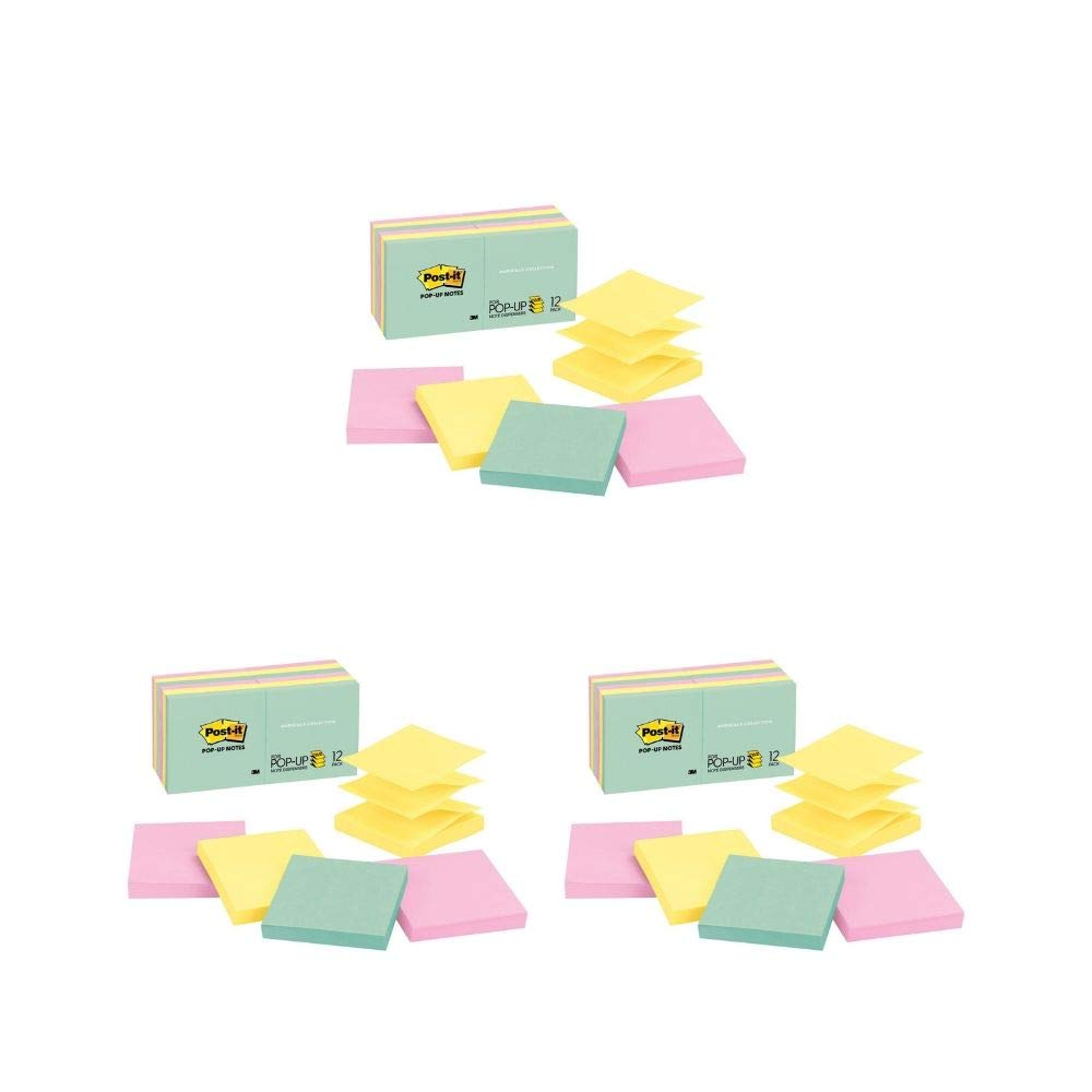 Pop-up Notes, Marseille Colors, America's #1 Favorite Sticky Note, Accordion-Style Sticky Notes for Dispensers, 3 in. x 3 in, 12 Pads/Pack, 100 Sheets/Pad (R330-12AP) (3 Pack of 12 Pads)