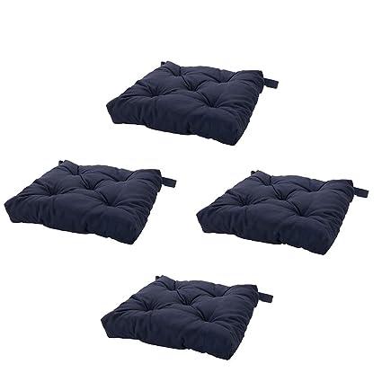 Image Unavailable  sc 1 st  Amazon.com & Amazon.com: Set of 4 Navy Blue Chair Cushions Pads Machine Washable ...