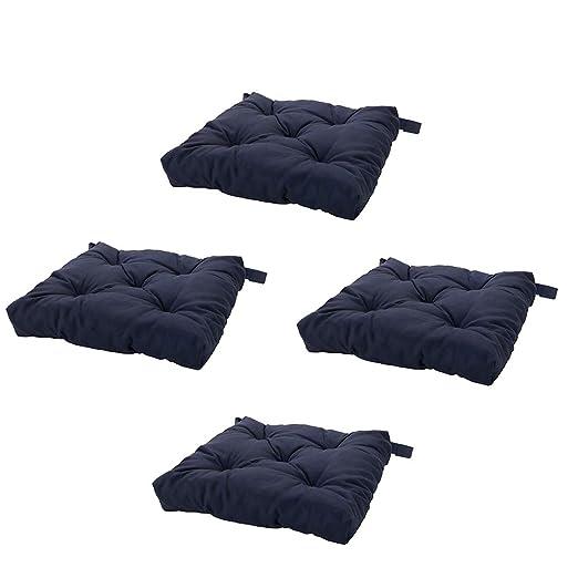IKEA Juego de 4 Azul Marino Cojines de Silla Almohadillas ...