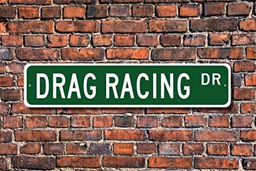 Fhdang Decor Drag Racing, Drag Racing Sign, Drag Racing Fan, Drag Racing Gift, car or Motorcycle Racing, Custom Street Sign, Metal Sign, 4