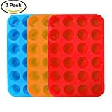 3 Paks Silicone Mini Muffin Pan, 24 Cups Silicone Mold Cupcake Baking Pan, Silicone Muffin Tins Baking Molds. (Orange, Red, Blue)