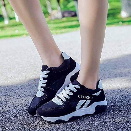 Aumento Cordones Zapatos Simple Planas Zapatillas Suela Negro Cosiendo Sylar 39 36 De Deportivas Para Mujer Running Gruesa O7wzqU