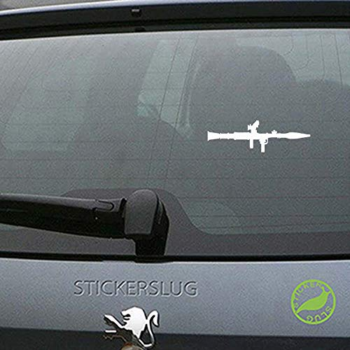 Rocket Launcher Decal Sticker (White, 8 inch) for auto Body and Glass b11236