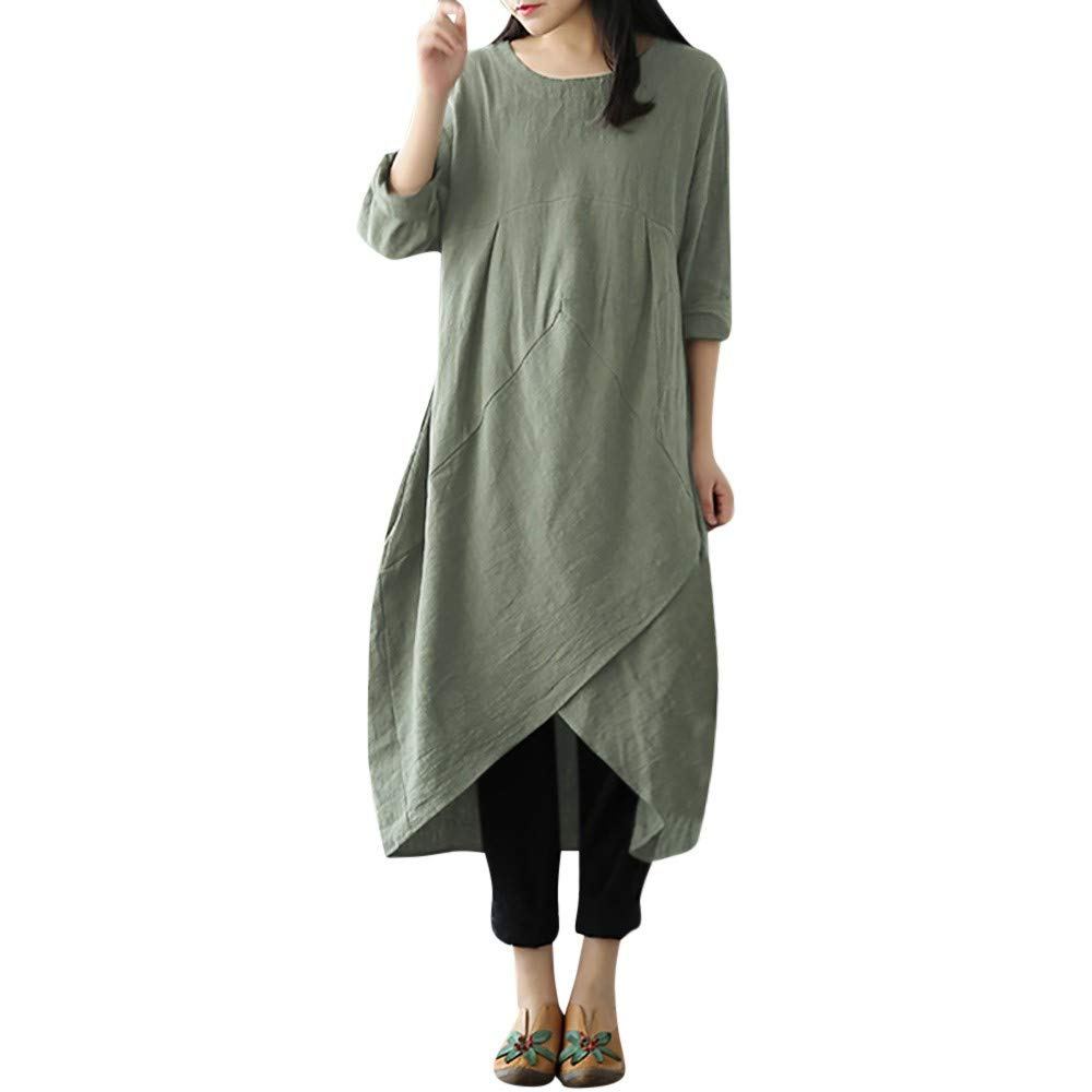 2019 Women Vintage Long Sleeve Tunic Baggy Long Maxi Dress Plus Size(Green,XXXX-Large) by Mimfor