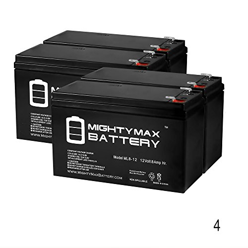 12V 8Ah Go-Ped ESR750, Electric Speed Racer 750 Scooter Battery - 4 Pack - Mighty Max Battery brand product - Go Ped Esr750 Electric Scooter
