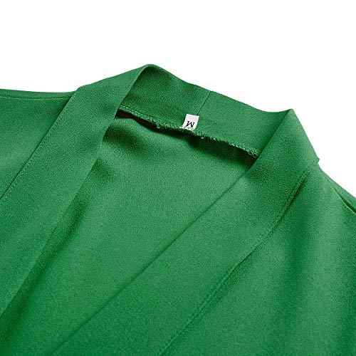 Casual Cardigan Coat Front Open Fashion Long Womens DOLDOA Solid Jacket Green Blazer Sleeve gYTH6nqf