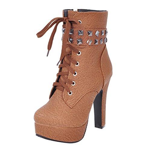 Lacet De Rond Et Chaud Bout Plateforme Avec Marron Femmes Bloc Hauts À Rivets En Mode Fermeture Uh Chaussures Bottines Talons Eclair xSwqwBA