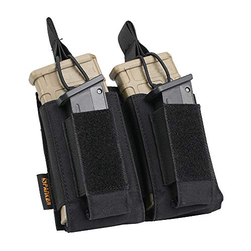 EXCELLENT ELITE SPANKER Open-Top Single/Double/Triple Mag Pouch for M4 M16 AK AR Magazines and Pistol Mag Pouch(Black)
