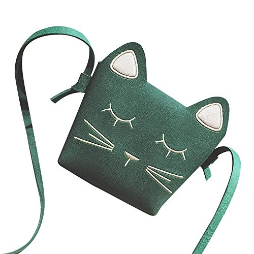 Price comparison product image Girls' Cute Kitty Purse Crossbody Shoulder Bags Hosamtel PU Leather Cat Ear Bag (Green)