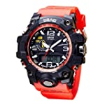LED Men Waterproof Sports Watches Shock Digital Electronic Digital PU leather band strap Alarm Luminous S Red