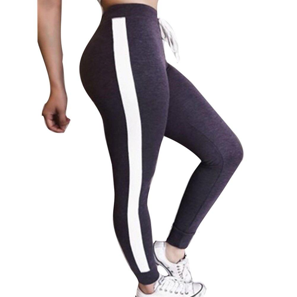 Yying Damen Hohe Taille Hosen Mode Gestreift Slim Fit Jogginghose mit Kordelzug Elastischer Taille Casual Jogging Yoga Hose Sporthose Jeggings D180428KZ2-Y